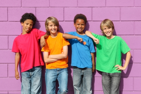 tweens: group of diverse mix race kids