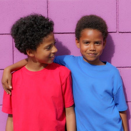 brotherly love: Happy little african descent black children