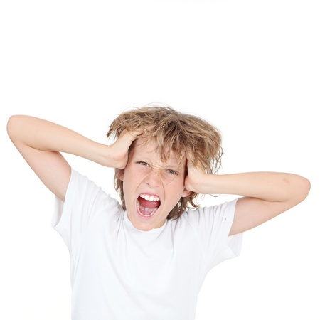 tween boy: kid screaming or shouting in frustration