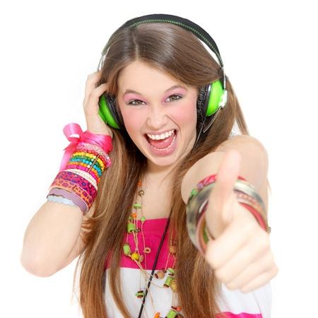 adolescent avec un casque et des pouces en l'air Banque d'images