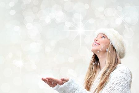 snow woman: christmas holiday woman with snow