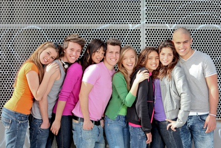 multi racial groups: group of diverse students or teens on campus