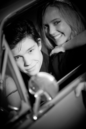 retro vintage couple in car photo