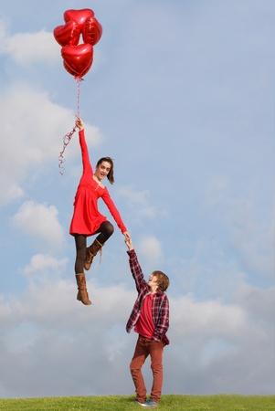 valentinky den mladý pár Reklamní fotografie