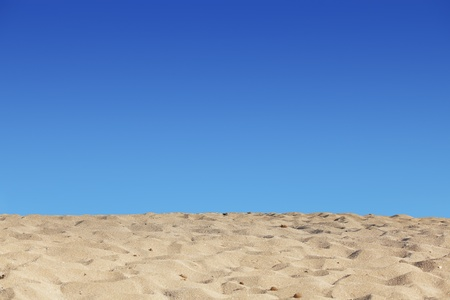 beach blue sky and sand background Stock Photo