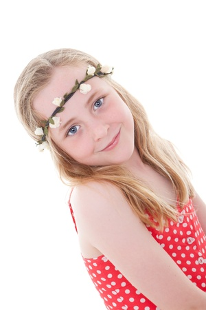 tween: cute smiling summer child girl or kid with blue eyes and long blond hair