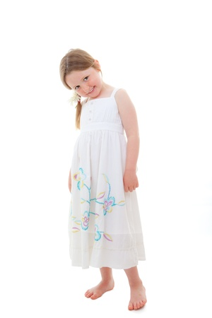 cute happy shy timid little girl child Stock Photo - 13585629