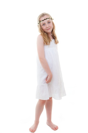 young girl barefoot: cute little girl in white summer dress