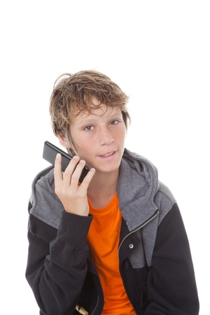 recieving: child recieving annoying spam or junk  phone call  Stock Photo
