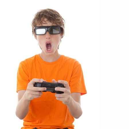 videos: child playing video game with 3D glasses Stock Photo