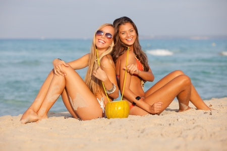 girls or teens on spring break drinking  Stock Photo