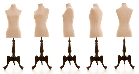 haberdashery: mannequin or dressmakers dummy taken from different angles