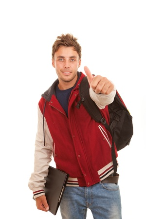 college boy: happy student with thumb up