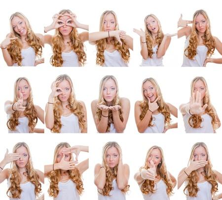 facial gestures: mujer con diferentes expresiones faciales y los gestos o signos Foto de archivo