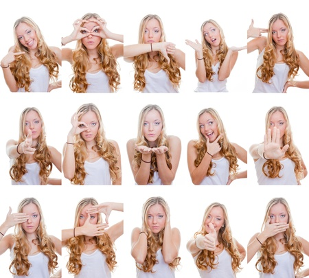 facial gestures: woman with different facial expressions and gestures or signs