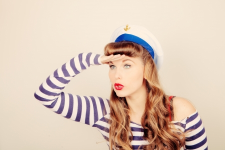 eye shade: pin up sailor woman looking