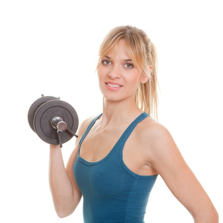 exercising, fit healthy woman doing exercise with weights Stock Photo - 17576915