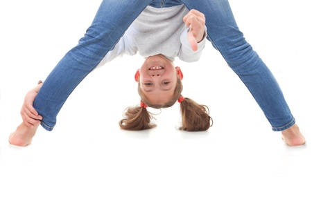 positive carefree child upside down Stock Photo - 17850747