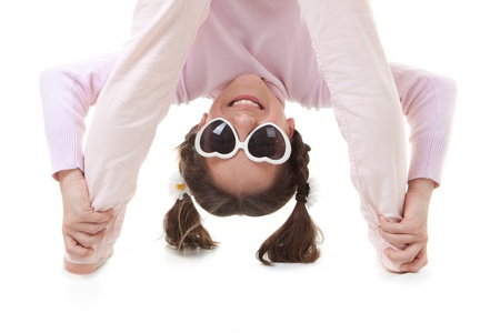 fun child smiling playing upside down Stock Photo - 17850740