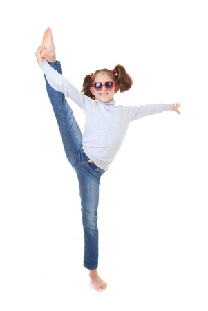 fit healthy child dancing or exercising photo