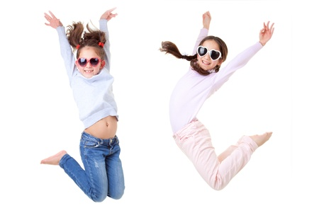 happy smiling, kids jumping Stock Photo