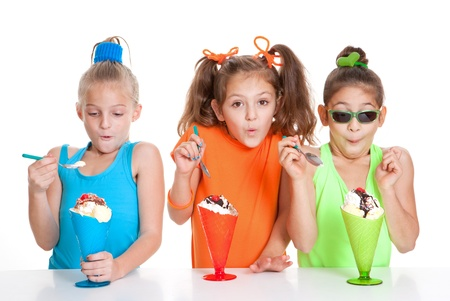 children with icecream sundae treat desserts photo