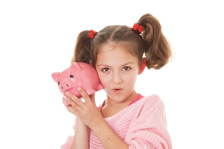 money box: kid showing money box, piggy bank savings Stock Photo