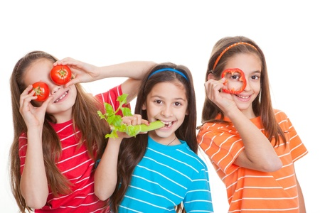 healhty eating kids concept, children with vegetables Stock Photo