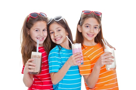 children drinking flavoured milk drinks Stock Photo - 17850766