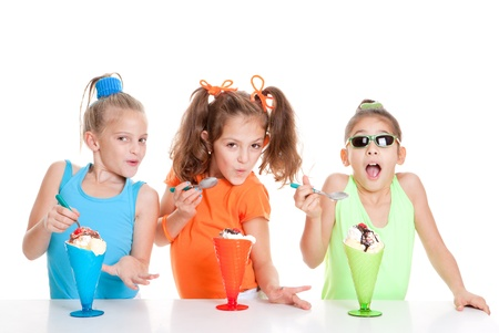 happy summer children eating ice cream Stock Photo - 17850757