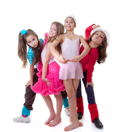 danza moderna: niños bailan la escuela, ballet, hip-hop, calle, funky y bailarines modernos