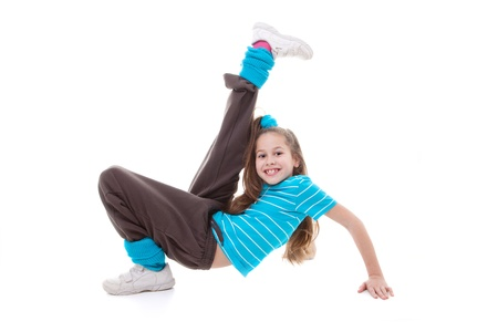 hip hop dancing: child dancer doing dance exercising Stock Photo
