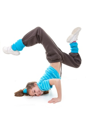child dancer dancing break, street or funky dance Stock Photo