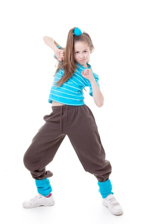hip hop dancing: street dancer dancing hip hop modern dance Stock Photo
