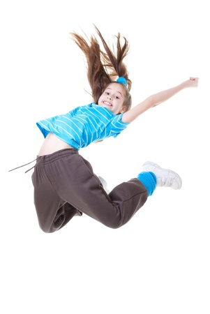 child or kid jumping and dance photo