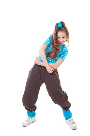 hip hop dance: kid street dancer dancing funky hip hop