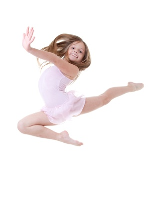 child ballet dancer leap or dance Stock Photo