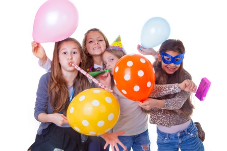 kids party celebrating birthday or new year photo