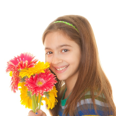 mothering: Happy child with bunch of flowers