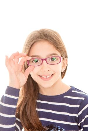 happy smiling child or kid wearing eye glasses