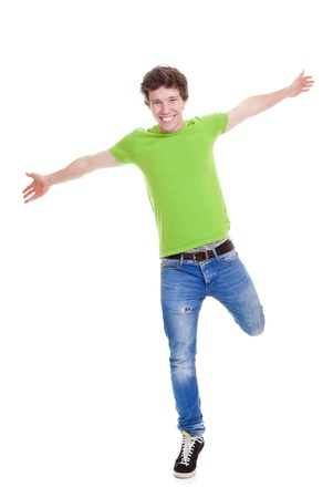 legs open:  Happy smiling confident teen arms outstretched Stock Photo