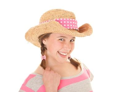 tween: happy summer smiling kid in sun hat Stock Photo