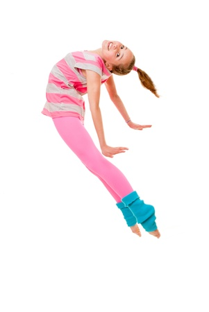 female gymnast: happy smiling ballet  dancing child jumping