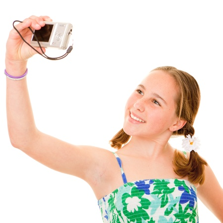 photographing: girl with camera taking snap shot of self