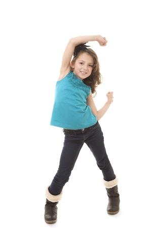 happy little sming child girl dancing