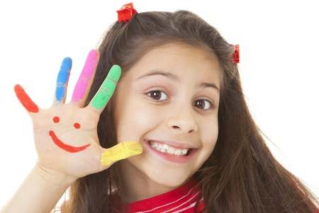 face paint: happy smile, smiling kid child or girl Stock Photo