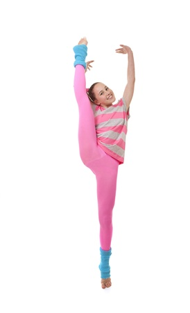 kid girl or child doing exercise photo