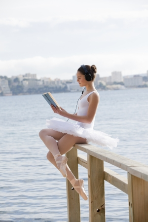 ballet: summer relaxing reading and music Stock Photo