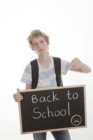 back to school, student with thumb down photo