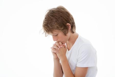 Kind die Hände gefaltet im Gebet beten Lizenzfreie Bilder